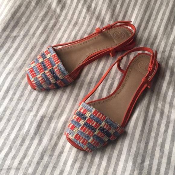 90a4fc678f84 Tory Burch Pietra Peep Toe Sandals. M 5b7597b1283095222bec68ff